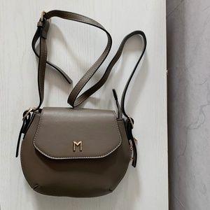 Melie Bianco Taupe Vegan Leather Crossbody  Bag